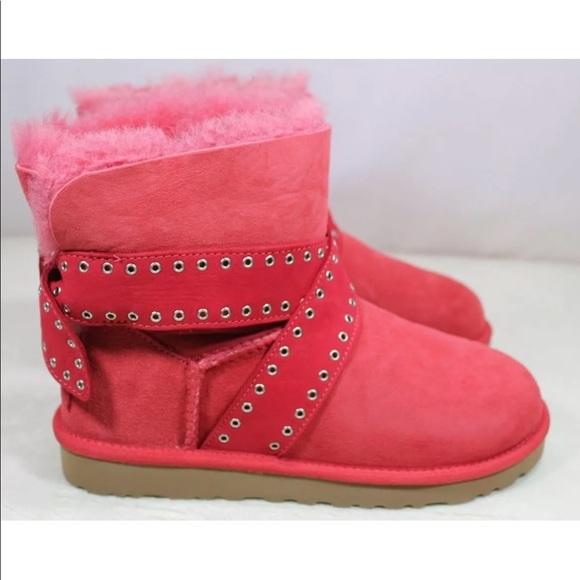 b6e563f428b UGG Cameron Studded Bailey Bow Lipstick Red Boots NWT